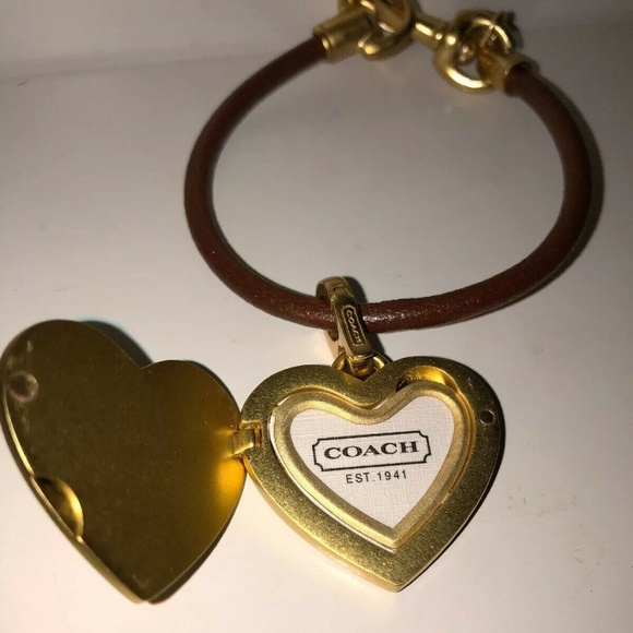 COACH Jewelry - COACH Heart Lock Leather Bracelet  Gold and Brown